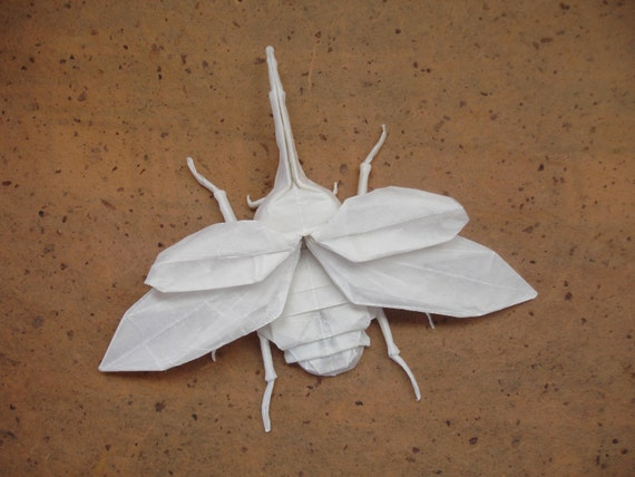Original Origami Hercules Beetle with Wings Outspread