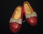 Vintage Red Rhinestone Shoes   Brooch with Silver Bows gold tone 1950s style Retro Ballet Jewelry Pin