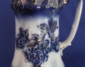 Anitque Flow Blue Large Pitcher Rose and Gold Gilt Porcelain Made in England Collectable Holiday Present Gift