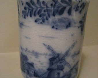 Vintage Flow Blue Warwick China Porcelain Glass Cup Dutch Windmill Flower Rare Antique Collectable Very Old 1890s