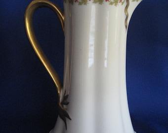 Haviland Limoges France Porcelain Chocolate Pot Gold Leaf and Coral Pink Floral Design Elegant Ribbon Handle Marked