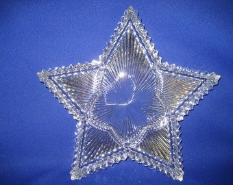 Vintage Heisey Crystal Star RIDGELEIGH Pattern Relish Glass Dish Serving Plate Collectable Glasswear