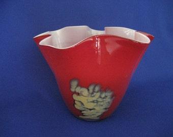 Art Glass RED Vase Bowl Fluted Ruffled Modern Design with Pontil on Bottom Display Home Decor or Gift