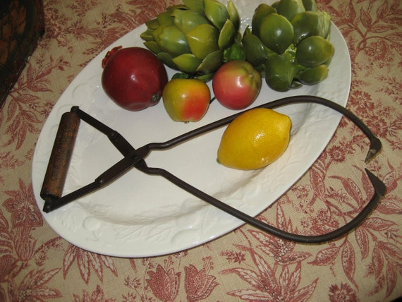 Antique Vintage Ice Tongs Kitchen Tool with Wood Handle Artesian and Cold Storage Co.