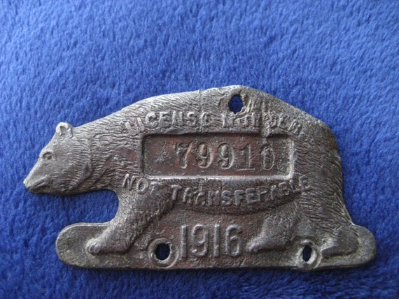 Vintage Antique License Plate Tag Bear Tag 1916 Copper Finnish Unique Rustic Collectible