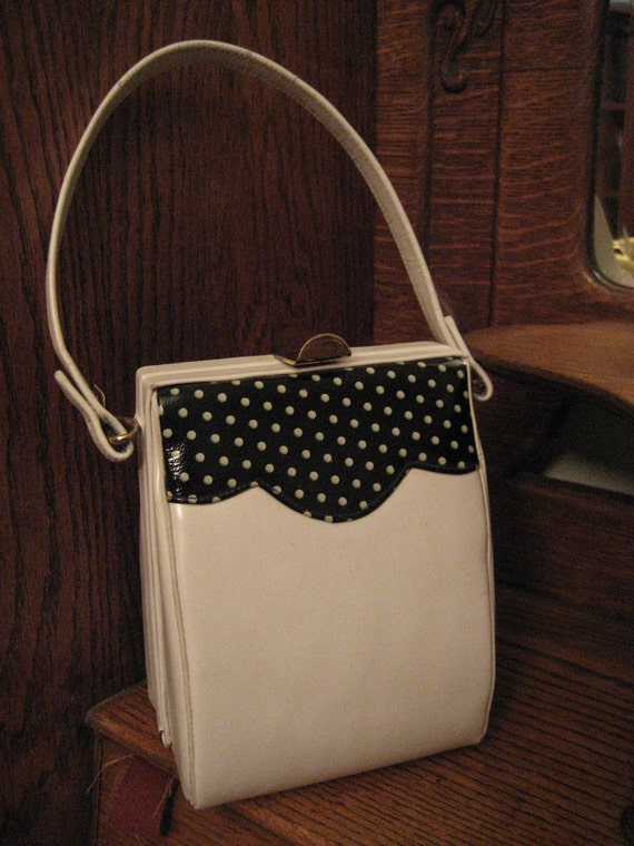 Vintage White and Black Purse Handbag  Girls Teen Ladies Womens Retro Polka Dot Accessorie Red Satin Linning by Duette of California