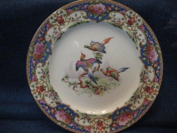 Vintage Shelley China Plate Old Sevres Pattern Blue Rose Pink Gold Floral Birds England Dinner Ware 1910s 1920s