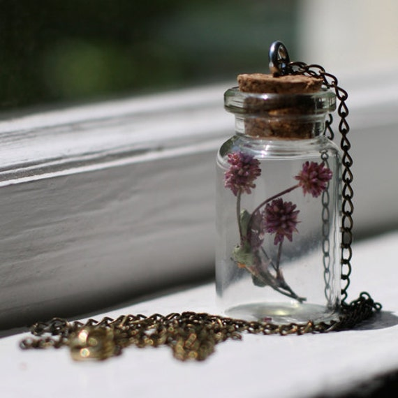 Glass Vial Necklace with Dried Pink Flowers