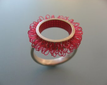 """Ring sterling silver and plastic, Diameter of ring top 21mm, color raspberry red , design """"loops in circles"""""""