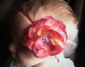 multi-colored pink silk rhinestone flower with tulle accent on skinny red headband, INFANT 6M size