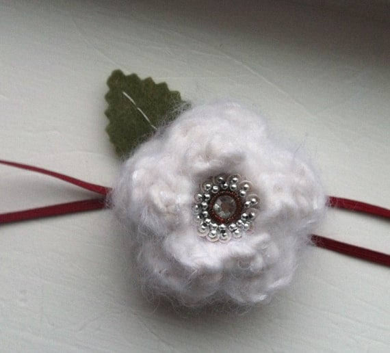 snow white crochet mohair wool flower headband for baby, eco-felt leaf, charcoal or red elastic, ANY SIZE, winter photo prop
