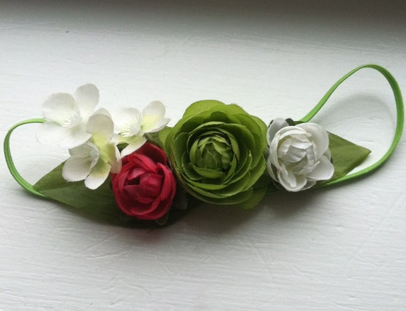 spring green,petite green, pink, white ranunculus flower baby headband on elastic, ANY SIZE, photo prop, special occasion
