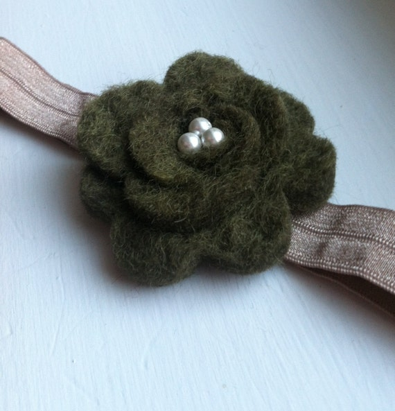 hand sewn olive green felted wool flower with pearl center baby girl headband, ANY SIZE, photo prop newborn to toddler