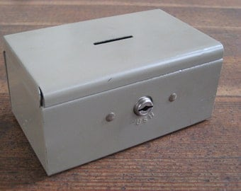 Vintage Tan Metal Bank/Cash Box - Rockaway Metal