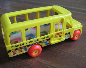 Vintage Children's Toy - Fisher Price Yellow School Bus (1965)