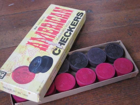 24 Halsam American Embossed Wood Checkers