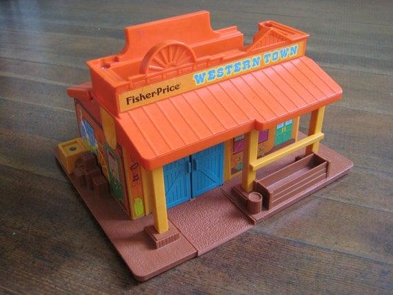 Vintage Children's Toy Fisher Price Western Town 1982