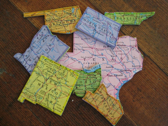 Reserved for Jenny- Two Vintage United States Puzzle Pieces (Illinois and Indiana)