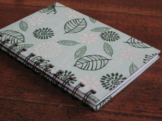 Handmade Journal - Spiral Bound Notebook With Spring Floral Leaf Design