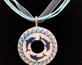 Mosaic Dolphin Circle Metal Washer Pendant Necklace Glossy
