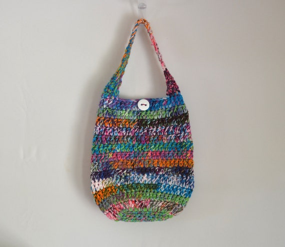 Crazy Crochet Shoulder Bag, Hippie Purse, Boho Bag, Multicolored, Funky, Hobo Bag, Tote Bag
