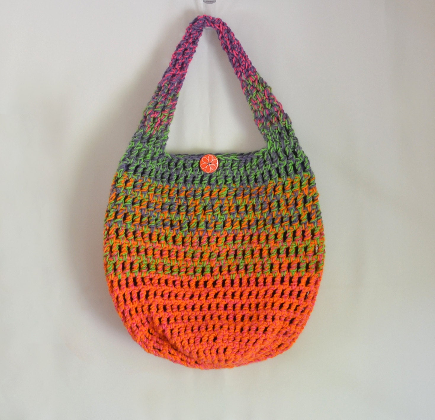 Crochet Crossbody Bag Pattern : Crochet Shoulder Bag Hobo Bag Rainbow Neon Spring by 2LeftHandz