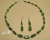 Green Mother of Pearl Stones Necklace and Hanging Earrings Set With Silver Plated Beads