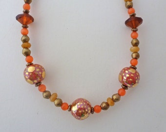 Coral and 14K gold Kazuri necklace ( #E46)