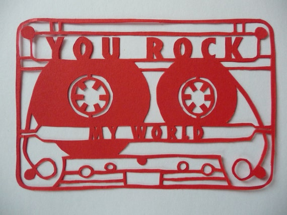 CASSETTE TAPE PAPERCUT  //  unique romantic gift  //  you rock my world