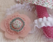 Felt Pink Flower Button Headband - Childrens Headband - Childrens Hair Accessory - Made to Match Rosie Dolly