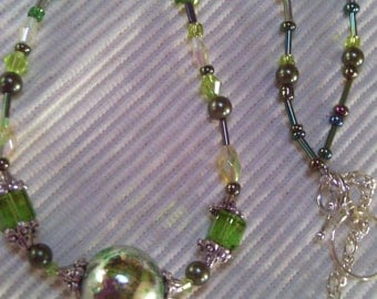 Custom Jewelry Sale, Large Green Mirrored Ball Pendant Necklace & Large Hoops Earrings Set, Summer Jewelry Sale