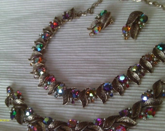 Reduced, Vintage  gemstone/rhinestone 3 pc. SET, Excellent Condition Julliana Styled,  Necklace, Bracelet ,Clip Earrings, FALL SALE