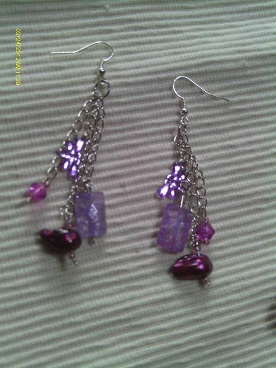 Purple and Lavender Chain Drop Earrings, Silver Triple Chain/Drop Earrings, Purple Spring Dangle/Drop Earrings