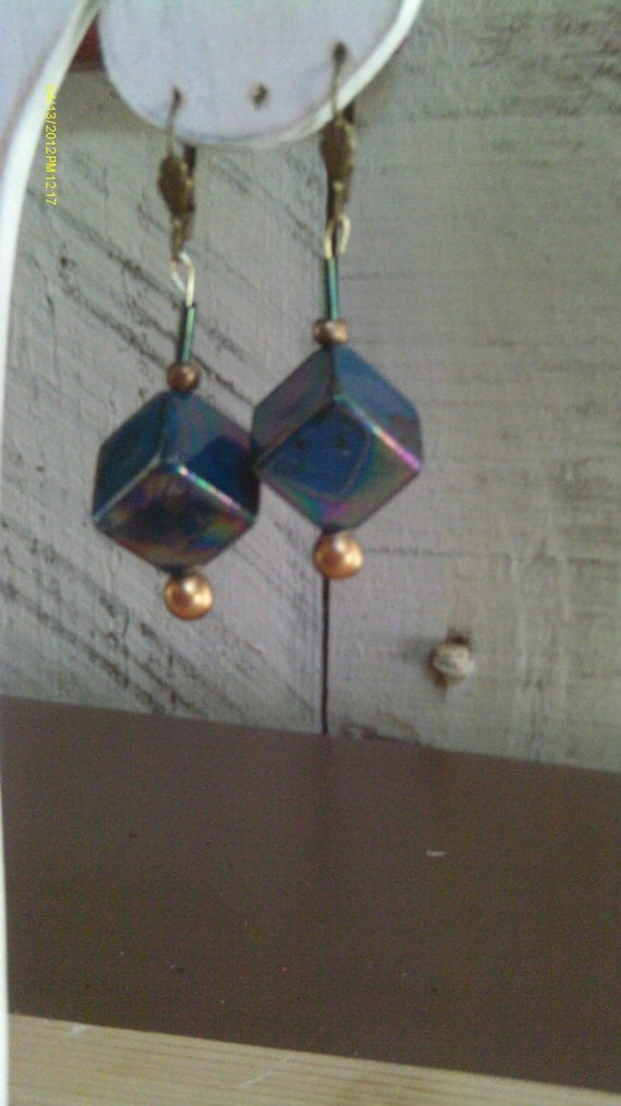 Holiday Earring SALE, Dichroic Glass Prism Cube Dangle Earrings, Unique Dichroic Cubes Glass and Brass Earrings in Prism changing colors