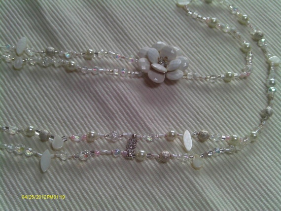 Sweet Innocence, Petals and Soft White Summer or Bridal  Memories Necklace