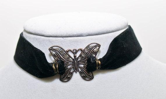 Gothic Velvet Butterfly Choker