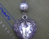 Large Silver Winged Heart Large Sparkle Necklace