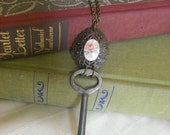 Antique Heart Shaped Key Necklace with German Rose Cabochon