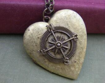 Vintage Heart Compass Locket  Follow Your Heart Locket Rustic Valentine Gift  Graduation Romantic