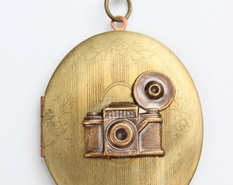 Vintage Locket, Camera Necklace,  Large Oval Locket , photography gift