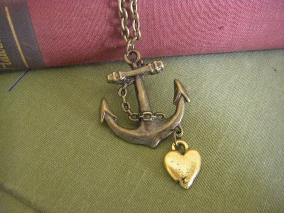 Anchor Necklace Love Sailor Necklace Antique Brass Anchor Heart Gift For Her Under 25 Navy Sea Ocean