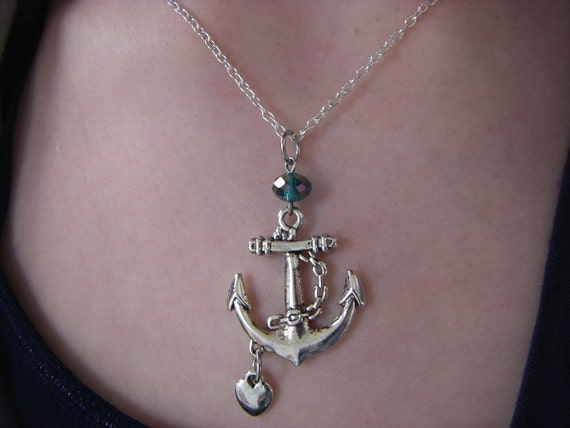 Silver Anchor Necklace  I love my Sailor Necklace navy sea heart and anchor