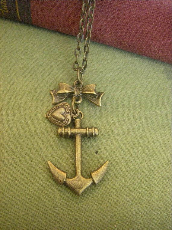 Sailor Girl   Anchor Necklace With Bow And Vintage Inspired Heart