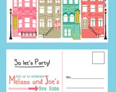 Brownstone Housewarming Invitation PDF