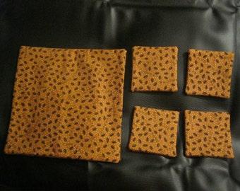 Coffee Bean Trivet and 4 Coaster Set