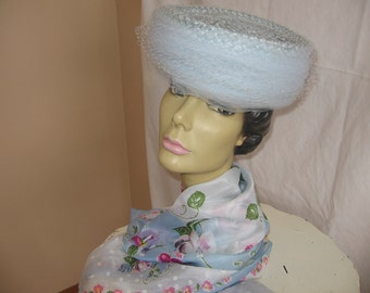 Vintage 60's Era Pale Blue Straw Hat with Tulle and Netting Accented with Blue Ribbon