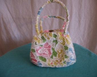 Pretty Vintage Beaded Floral Walborg Purse