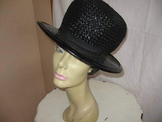 Vintage 60's Era Black Straw Hat with Tall Crown and 3 Inch Wide Brim