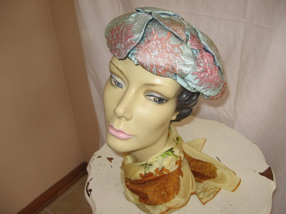 Vintage 60's Era Blue Satin Hat with Petal Construction