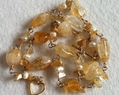Citrine Necklace for Prosperity, with all natural stones pearls rutilated quartz Wedding style